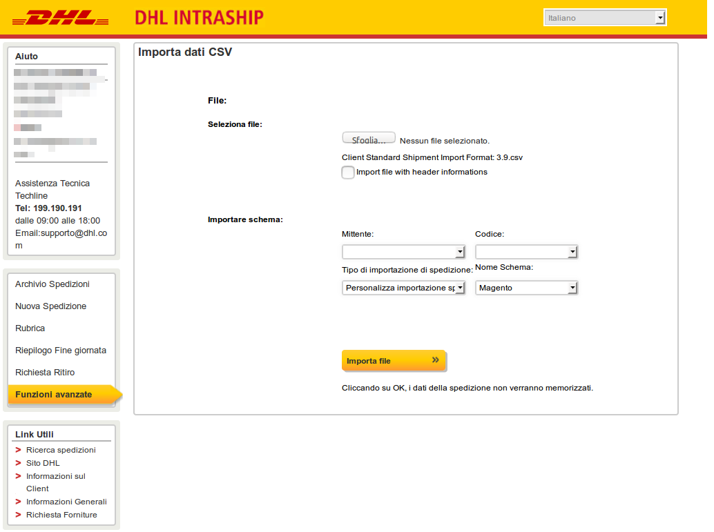 Intraship DHL file upload 2