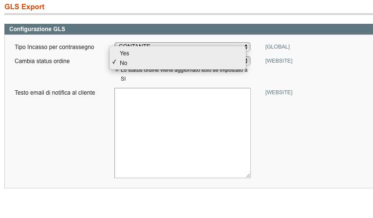Configurazione Gls Magento 3