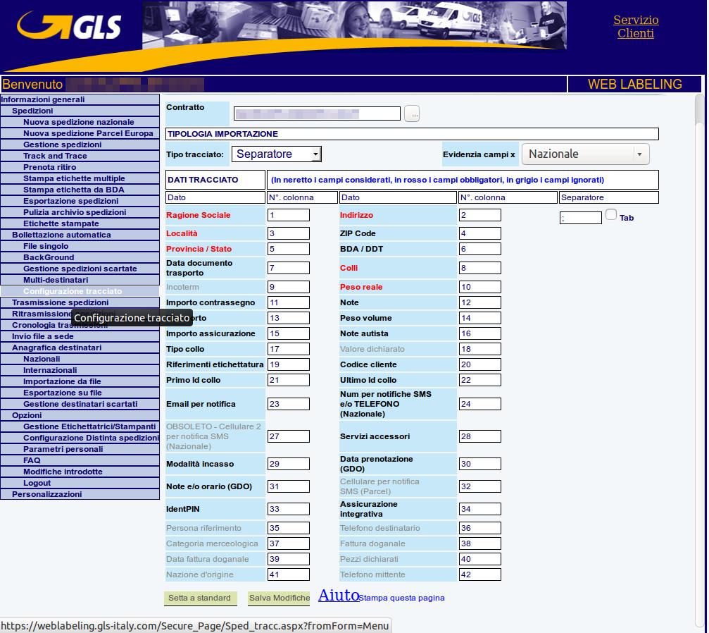Configurazione tracciato su weblabeling