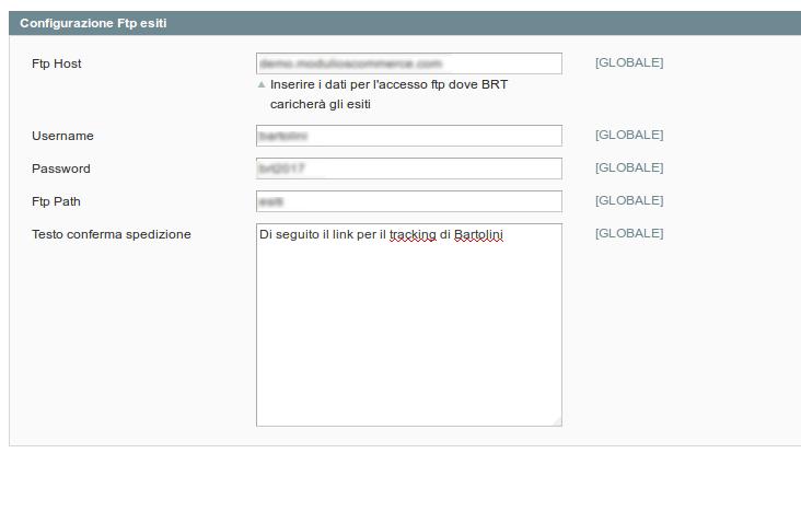 Configurazione FTP per Tracking Bartolini