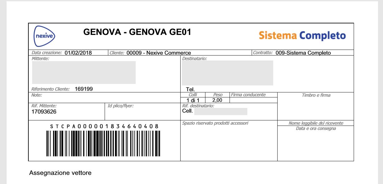 Etichetta Nexive Sistema Completo
